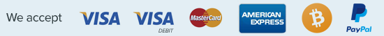 We accept visa, visa debit and mastcard payments.